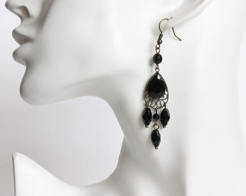 Black,Faceted,Teardrop,with,Dangles,Earrings,black faceted earrings, faceted teardrop earrings, black teardrop earrings, clip on earrings, black dangle earrings, bronze lacey earrings