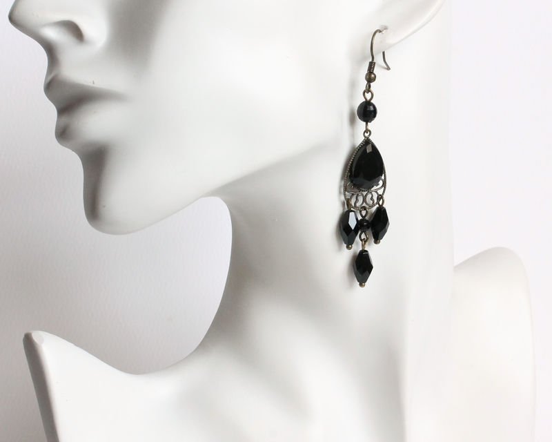 Black Faceted Teardrop with Dangles Earrings - product images  of