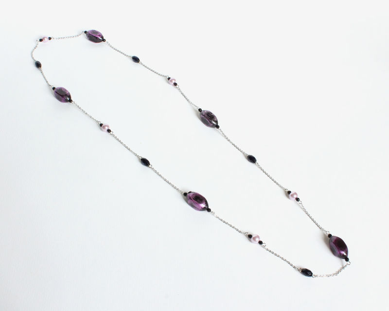 Purple long square bead long necklace - product images  of