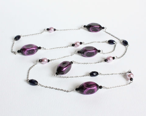 Purple,long,square,bead,necklace,purple long square bead necklace, purple beaded long necklace, purple black long necklace, violet black long necklace, purple bullet bead necklace, handmade beaded long necklace