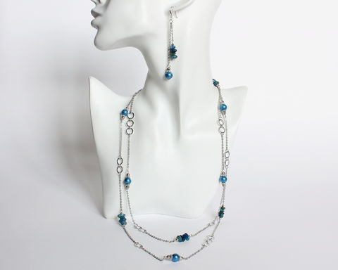 Blue,Beaded,Very,Long/Double,Necklace,and,Earrings,Set,blue beaded necklace, very long necklace, double necklace and earrings set, dangle earrings, ocean blue necklace, small blue bead necklace