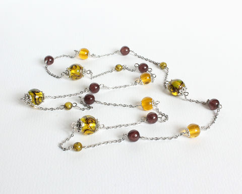 Yellow,Lampwork,and,Brown,Beads,Long,Necklace,yellow lampwork bead necklace, yellow brown long necklace, yellow brown beaded long necklace, yellow glass bead necklace, glass bead and stainless steel chain long necklace