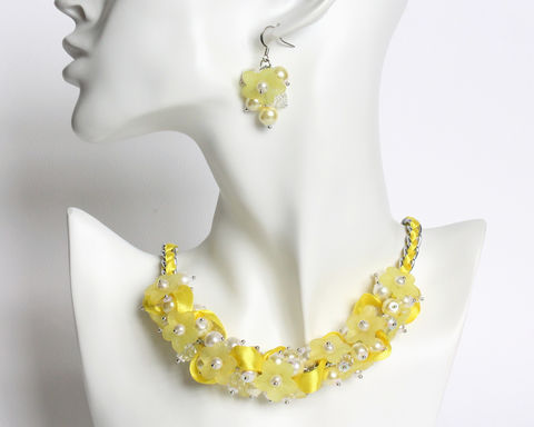 Yellow,Flower,Cluster,Necklace,and,Earrings,Set,yellow cluster necklace, yellow bridesmaid necklace, yellow necklace, yellow pearl necklace, yellow flower necklace, yellow ribbon necklace, yellow bridesmaid, yellow jewelry set