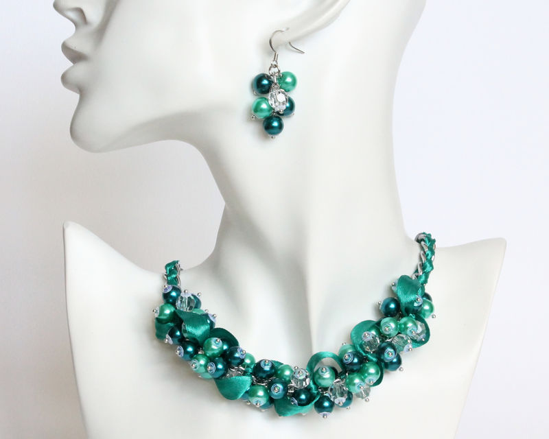 Teal Turquoise Cluster Necklace and Earrings Set - product images  of