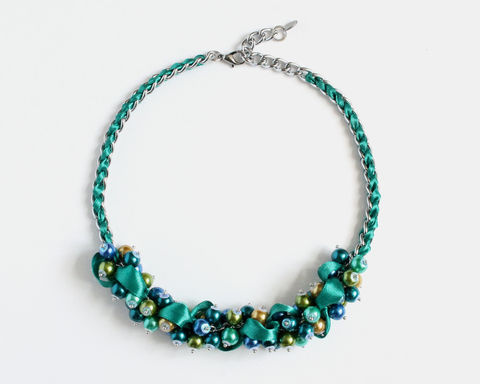 Peacock Color Cluster Necklace and Earrings Set - product images  of
