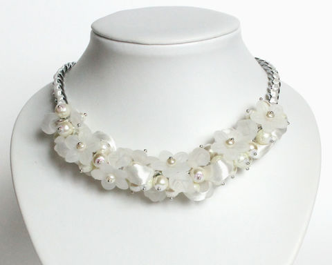Bridal White Pure White Pearl Cluster Necklace and Earrings Set - product images  of