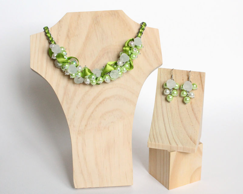 Lime Green White Rose Cluster Necklace and Earrings Set - product images  of