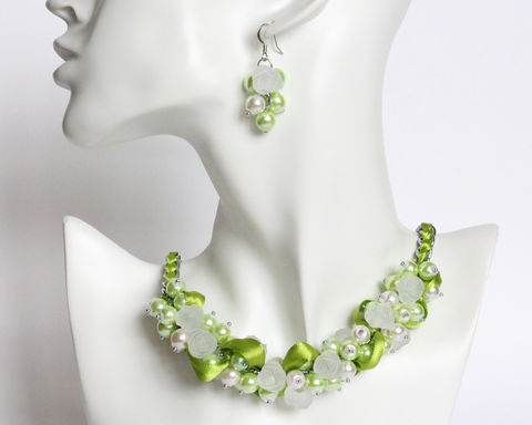 Lime,Green,White,Rose,Cluster,Necklace,and,Earrings,Set,lime green necklace, lime green bridesmaid necklace, green pearl necklace, green bridesmaid necklace and earrings set, lime bridesmaid jewelry, green white necklace