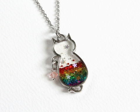Rainbow,Cat,Glitter,Necklace,rainbow cat necklace, rainbow cat necklace, rainbow glitter pendant necklace, transparent rainbow cat pendant necklace, colorful cat necklace, glitter cat necklace