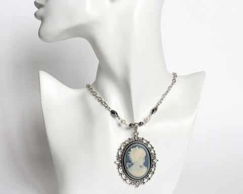 Katherine's,Blue,Cameo,Necklace,cameo necklace, blue cameo necklace, katherine, vampire, tv, TVD, large cameo necklace, katherine cameo necklace, cosplay