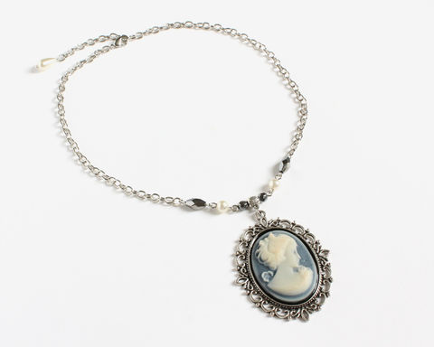 Katherine's Blue Cameo Necklace - product images  of