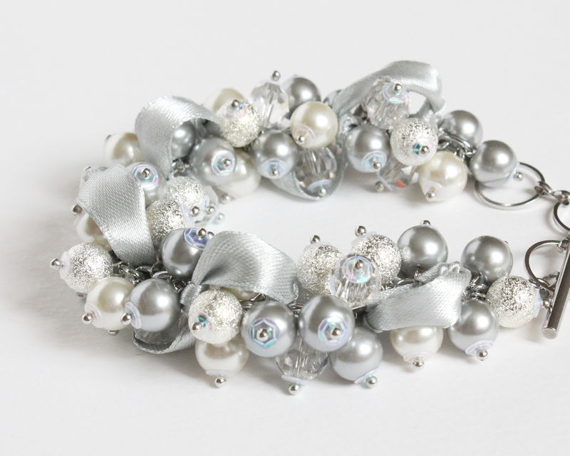 Silver Gray Pearl Cluster Bracelet and Earrings set - product images  of