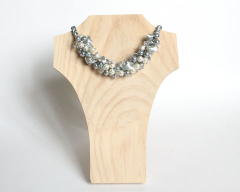 Silver Gray Pearl Cluster Necklace and Earrings Set - product images  of