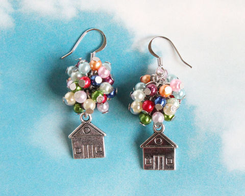 Flying,House,Earrings,flying house earring, balloon house earring, flying house, up house earring, home earring, balloon house, fly house earring