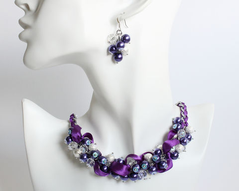Dark,Purple,Silver,Cluster,Necklace,and,Earrings,Set,dark purple necklace, dark purple bridesmaid necklace, dark purple pearl necklace, dark purple silver necklace, purple pearl cluster necklace, bridesmaid necklace and earrings set, purple bridesmaid jewelry set