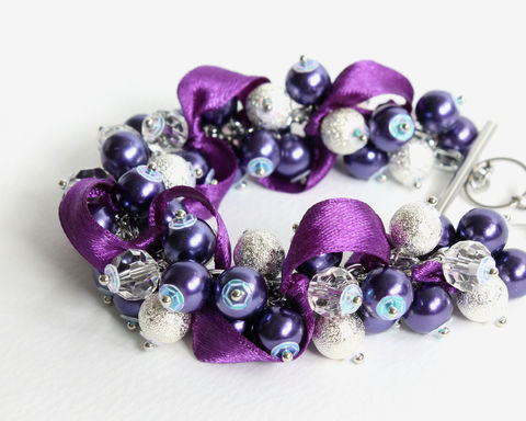 Dark,Purple,Silver,Cluster,Bracelet,and,Earrings,set,dark purple cluster bracelet, dark purple bridesmaid bracelet, purple pearl bracelet, indigo bridesmaid bracelet, indigo cluster bracelet, indigo pearl bracelet, purple silver bracelet, indigo silver bracelet, purple silver pearl bracelet, indigo bridesma