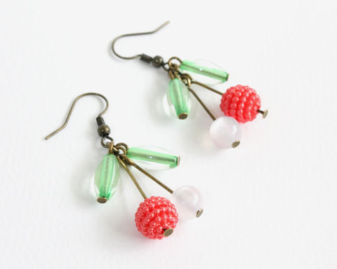 Lychee,Earrings,lychee earrings, litchi earrings, fruit earring, clip on lychee earrings