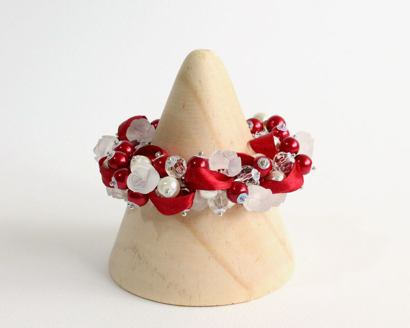 Red White Rose Cluster Bracelet and Earrings Set - product images  of