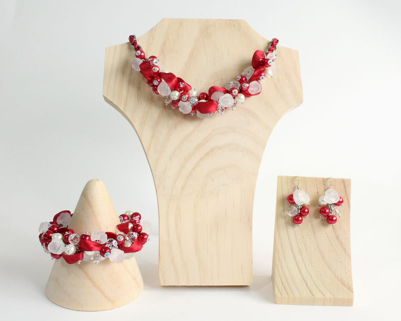 Red White Rose Cluster Necklace and Earrings Set - product images  of
