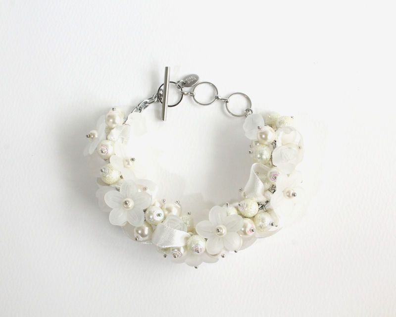 Bridal White Pearl Cluster Bracelet and Earrings Set - product images  of