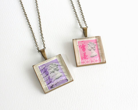 Queen,Elizabeth,II,Hong,Kong,Vintage,Stamp,Necklace,queen elizabeth stamp, queen necklace, hong kong stamp necklace, queen elizabeth necklace, hong kong vintage stamp necklace, square stamp necklace, hong kong queen necklace, vintage stamp necklace