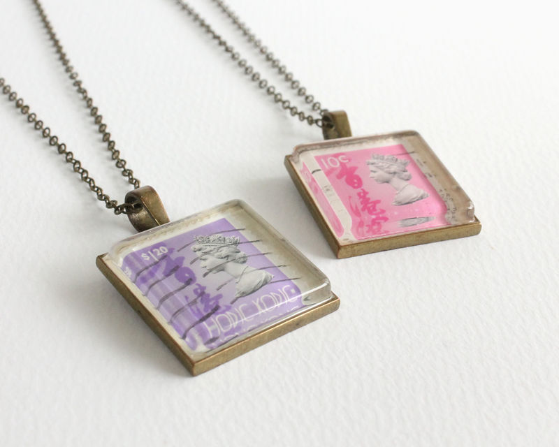 Queen Elizabeth II Hong Kong Vintage Stamp Necklace - product images  of