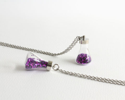 Mini,Love,Potion,Vial,Necklace,(OUAT),mini love potion vial necklace, purple glitter necklace, mini glitter necklace, small glitter vial necklace, purple love potion necklace, mini flask necklace, small flask jewelry, small glass bottle necklace