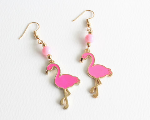 Pink,Flamingo,Earrings,pink flamingo earrings, flamingo earrings, pink bird earrings, gold earrings, pink gold earrings, animal earrings, flamingo clip ons earrings