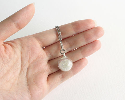 Tiny,Bubble,in,Small,Sphere,Necklace,tiny bubble necklace, small bubble necklace, glass ball necklace, small glass ball necklace, small glass sphere necklace, transparent glass ball necklace