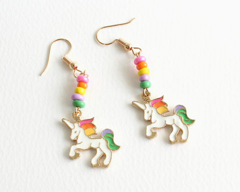 Rainbow,Unicorn,Earrings,unicorn earrings, rainbow unicorn earrings, unicorn clip ons, white unicorn rainbow hair, rainbow mane unicorn earrings, magical creature earrings, horse earrings