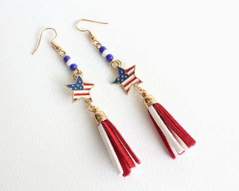 USA,Star,Flag,Earrings,usa star flag earrings, usa flag earrings, usa earrings, usa clip ons earrrings, america flag earrings, america earrings, july 4th earrings, 4th of july earrings