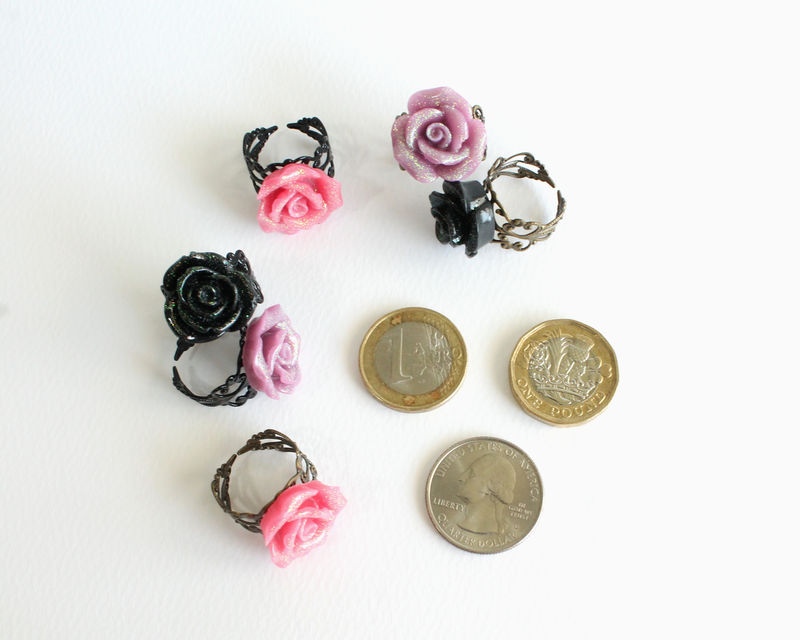 Medium Glittering Rose Ring (Pink/Purple/Black) - product images  of