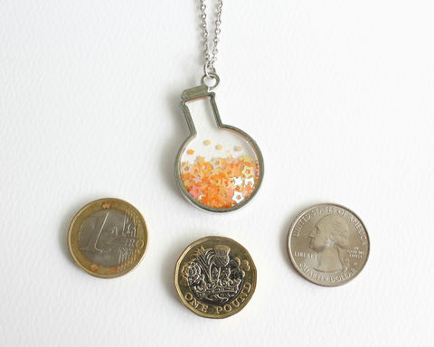Orange Stars in Flask Bottle Necklace - product images  of