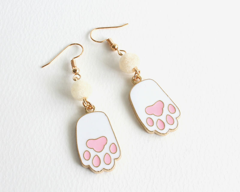 White Cat Paw Earrings - product images  of