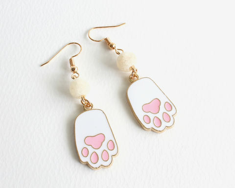 White,Cat,Paw,Earrings,white cat paw earrings, white paw earrings, cat paw dangle earrings, cat paw clip on earrings, cat hands earrings, white cat earrings