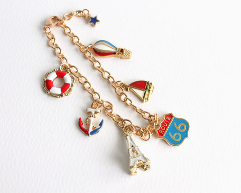 Red White Blue Vacation Gold Charm Bracelet - product images  of