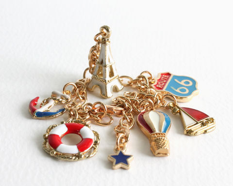 Red,White,Blue,Vacation,Gold,Charm,Bracelet,gold charm bracelet, gold bracelet, vacation charm bracelet, travel bracelet, roadtrip bracelet, sailboat bracelet, eiffel tower bracelet, route 66 bracelet, hot air balloon bracelet