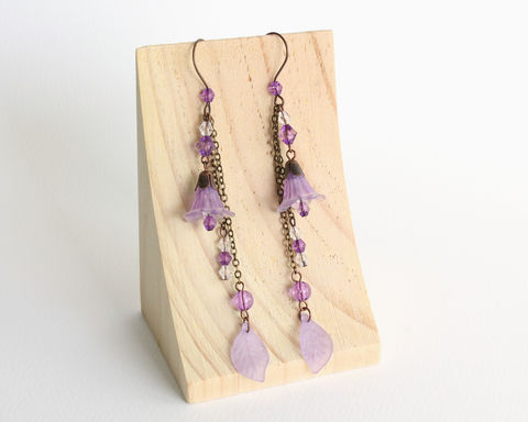 Purple,Trumpet,Flower,Earrings,with,Dangles,purple flower earring, purple bronze earring, purple trumpet flower earring, purple dangles earrings, long dangle earrings