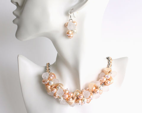 Nude,White,Rose,Cluster,Necklace,and,Earrings,Set,nude cluster necklace, nude pearl necklace, nude pearl cluster necklace and earrings set, nude white color theme necklace, nude white theme bridesmaid necklace, nude color necklace