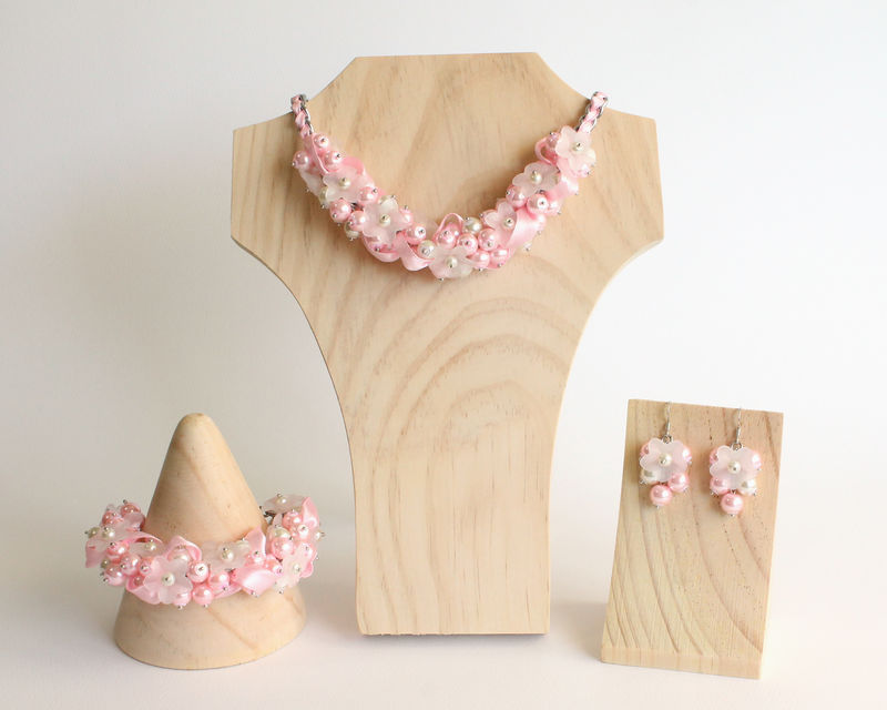Baby Pink White Flower Cluster Bracelet and Earrings Set - product images  of