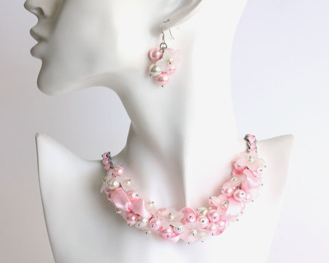 Baby,Pink,White,Flower,Cluster,Necklace,and,Earrings,Set,baby pink cluster necklace, baby pink pearl necklace, pink white necklace, light pink bridesmaid jewelry, light pink bridesmaid necklace earrings set, pink white flower necklace, pink white flower pearl necklace, pink white cluster necklace