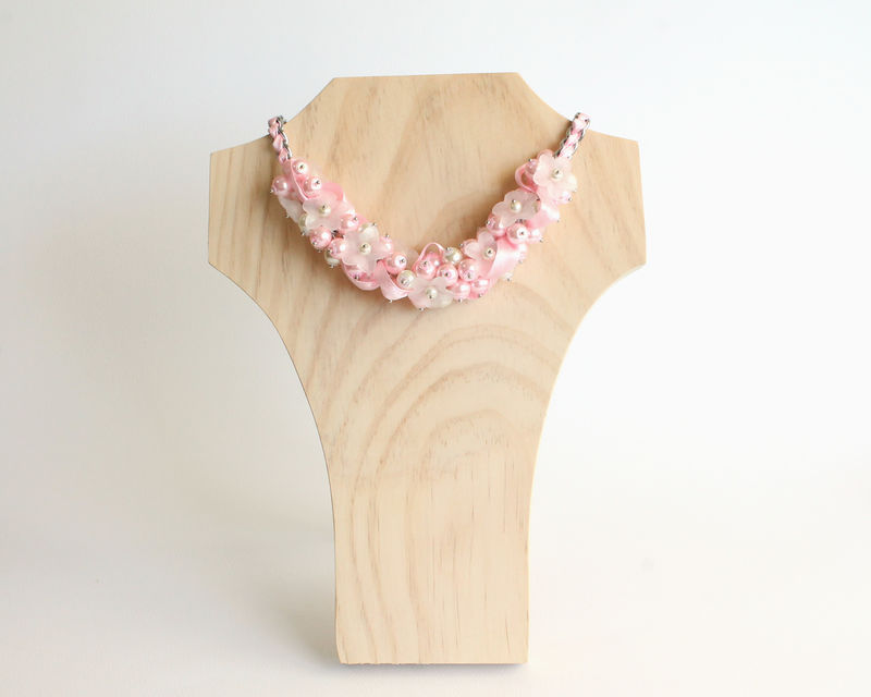 Baby Pink White Flower Cluster Necklace and Earrings Set - product images  of