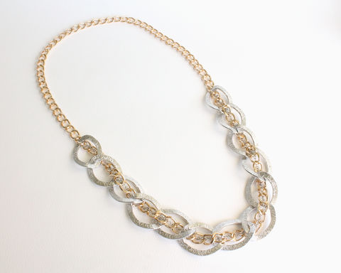 Large,Silver,and,Gold,Chain,Chunky,Necklace,handmade long necklace, chunky long necklace, large chunky necklace, silver gold chunky necklace, silver and gold chain necklace, silver gold chain chunky necklace, aluminum silver gold large necklace