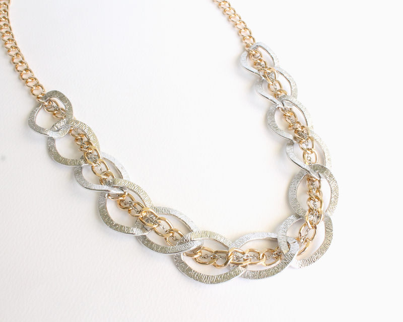 Large Silver And Gold Chain Chunky Necklace