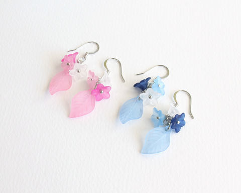 Mini,Flower,and,Leaf,Earrings,(pink,or,blue,theme),mini flower and leaf earrings, pink flower leaf earrings, blue flower leaf earrings, pink white flower earrings, blue white flower earrings, clip on flower earring, dangle flower leaf earrings, flower leaves earrings