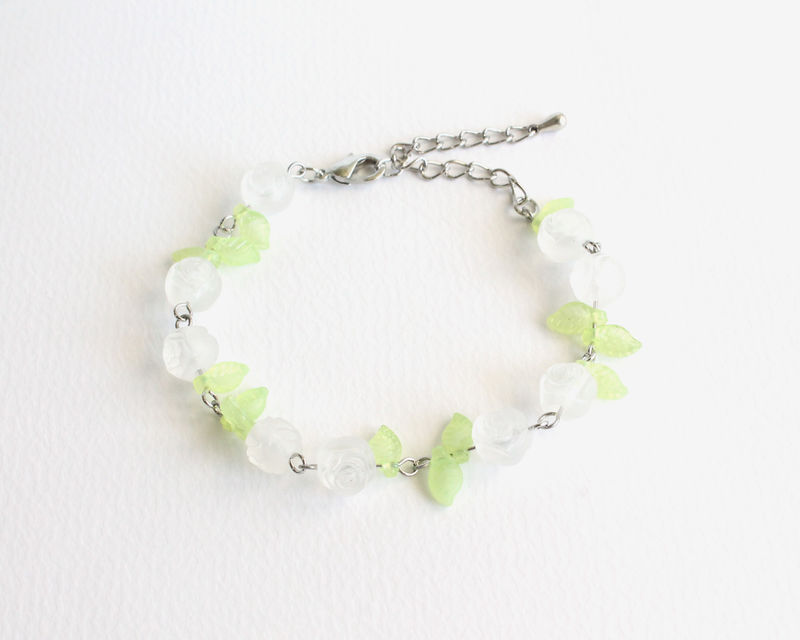 White Roses and Leaves Bracelet - product images  of