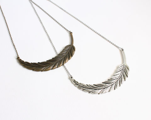 Large,Feather,Necklace,(Silver,or,Bronze),large feather necklace, silver feather statement necklace, bronze feather statement necklace, large silver feather necklace, large bronze feather necklace