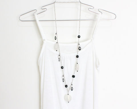 Black and White Large Beads Chunky Long Necklace - product images  of