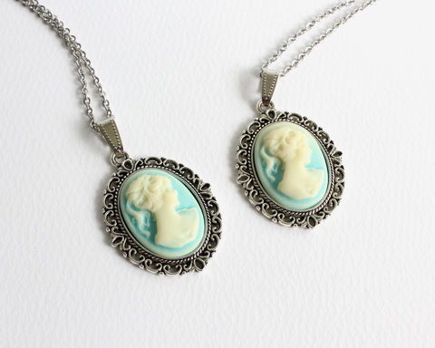 Small,Cameo,Necklace,(Light,Blue),cameo necklace, small cameo necklace, black cameo necklace, turquoise cameo necklace, light blue cameo necklace
