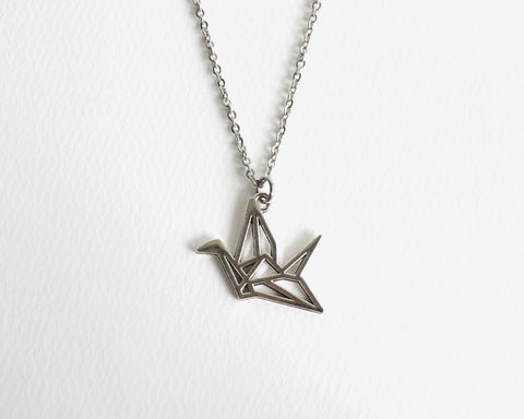 Silver,Origami,Shape,Necklace,silver origami necklace, japanese origami necklace, japan origami outline necklace, japanese paper folding bird necklace, japanese paper bird necklace